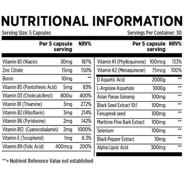 Alpha Test Booster Nutritional Information